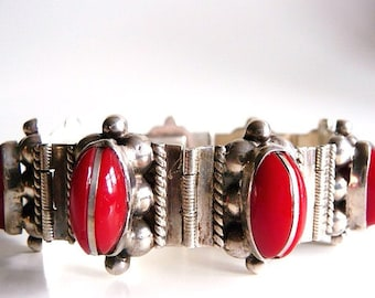 Vintage Mexican sterling silver panel bracelet | red glass cabs bracelet