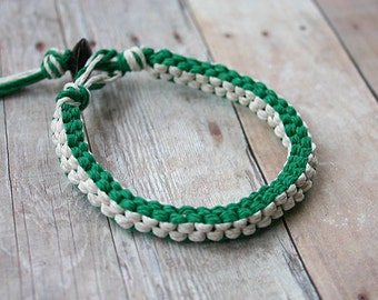 Surfer Macrame Hemp Bracelet Green and White Square Woven Knot  Bracelet