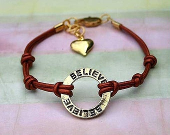 SILVER Karma Bracelet Double Bronze Leather Strap With Believe Ring Expression Plate
