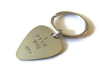 Hand Stamped Guitar Pick Keychain - I Pick You Infinity