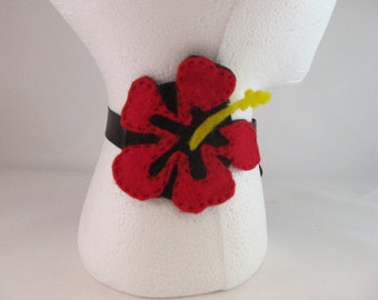 Felt Flower Necklace-Red and Black Necklace-Felt Necklace-Hibiscus