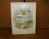 Vintage Easter Picture Card 5 X 7 from Lion Coffee