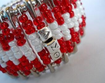 Safety Pin Beaded Bangle CrimsonCream