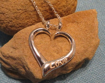 Silver Heart Pendant Ring Holder with Rose Gold Fill Rope Chain Stamped Love Charm JJDLJewelryArt