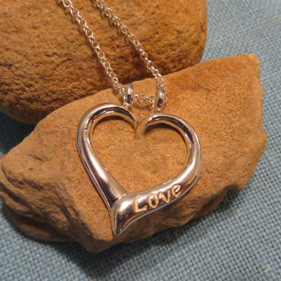 heart pendant ring holder necklace sterling silver stamped