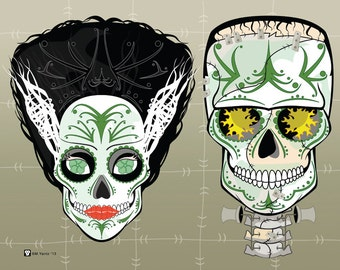 Frankenstein Couple Sugar Skulls Print 11x14 print