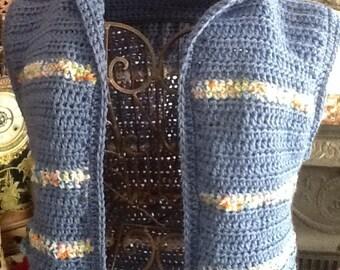 Women's blue hoodie vest