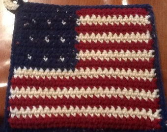 Americana flag potholder hot pad extra heavy - 4th of July - Memorial Day - Flag Day - Summer BBQ