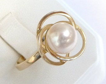 Pearl Engagement Ring unique promise ring 14k solid gold Pearl ring round 8mm smooth pearl