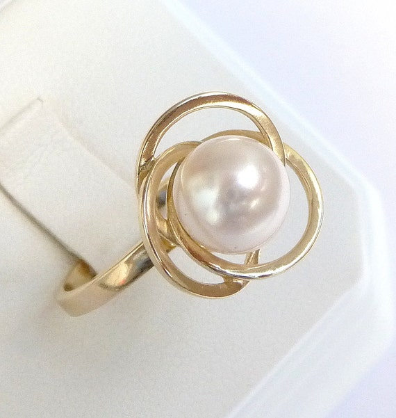 engagement ring pearl ring unique promise ring 14k by