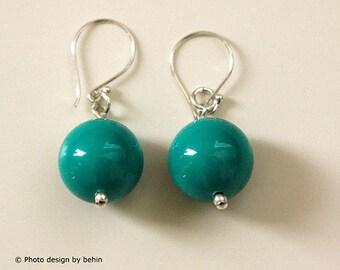Jade Turquoise Swarovski Crystal Pearls Earrings, Sterling Silver Earrings, Something Blue Earrings, Bridal Jewelry, Pearls Earrings