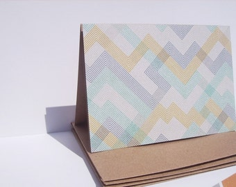 Geometric Note Cards - Muted Note Card Set, Geometric Thank You Notes, Modern Kraft Stationery Heather Grey Mustard Yellow Navy Blue Mint