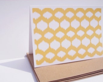 Modern Note Cards - Mustard Yellow Stationery, Mod Thank You Notes, Geometric Ikat Design Patterned Note Cards, Golden Yellow Card Set