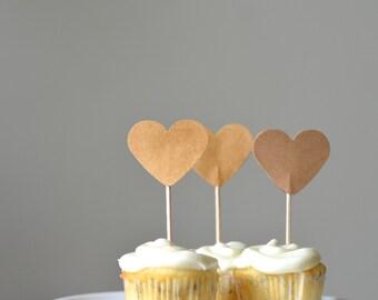 Kraft Heart Cupcake Picks, 12 light brown cupcake toppers, custom colors available