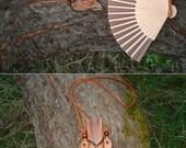 Tooled Leather Fan Holder Plus Bamboo/Paper Fan