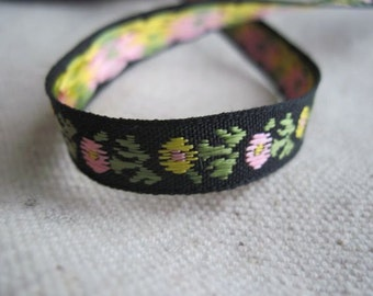 Dainty YELLOW and light PINK Flowers on BLACK Jacquard Ribbon