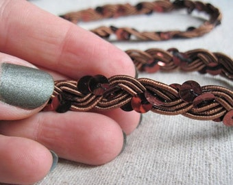 Chocolate BROWN and COPPER Sequins  Braid trim