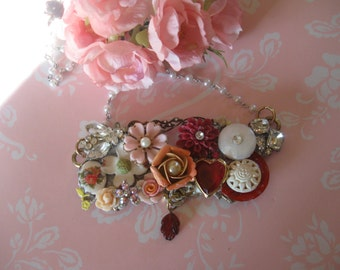 Old Fashioned Valentine.vintage flower button  jewerly assemblage necklace