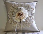 "Linen crochet pillow cover 16""x16"""