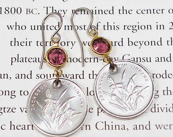 China, Authentic Coin Earrings --- Iris Flowers --- Chinese New Year - Gardening - Botany - Flower Garden - World Treasures - Horticulture