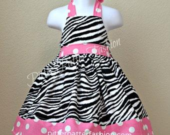 Girls custom boutique clothing halter dress zebra with pink polka dot jumper 12 month 2 3 4 5 6