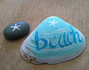 Hand Painted Maine Clam Shell, Ornaments And Accents, Coastal Cottage Beach Home Decor