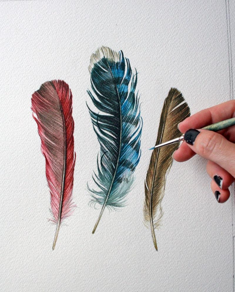 Original feather painting for Peinture mural original