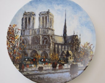 "Limoges France Louis Dali ""La Cathedrale Notre - Dame "" Collector Plate French Porcelain Plate Vintage Plate French Decor Paris Apartment"