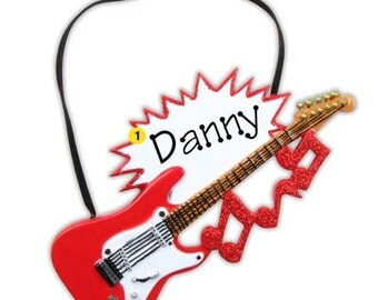 Electric Guitar, Rock Star Personalized Christmas Ornaments-Singer, Musician, Artist, Actor, Speaker- Free personalization