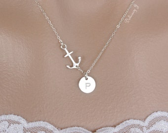 Sideways Anchor Necklace With Initial Disc Charm necklace, Sterling Silver personalized monogram necklace, Everyday Necklace Christmas gifts