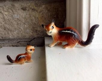 Cute Mom And Baby Chipmunk Figurines / Vintage / Woodland