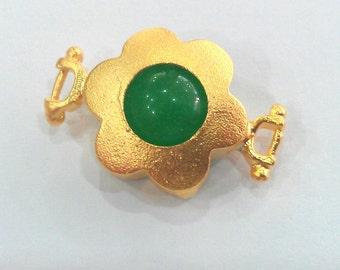 14 mm  Green Jade  Connectors , 22K Gold Plated Brass Bezel  G1208