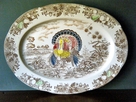 Turkey Transferware Platter Large Oval Brown And Cream With