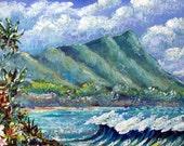 "Cool acrylic painting of  Diamond Head Hawaii  / 5"" x 7"" inches"