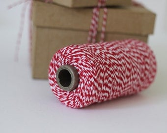 Valentines Red & White Bakers Twine - 10 metres - Perfect for Gift Wrapping and DIY Crafts