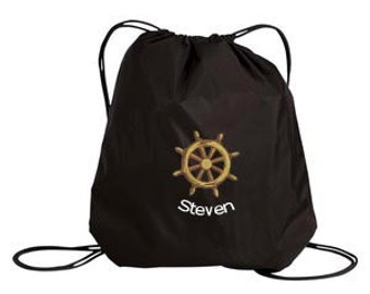 Drawstring Bag Personalized with Nautical Design, Personalized with Name, Cinch Bag, Nautical Theme