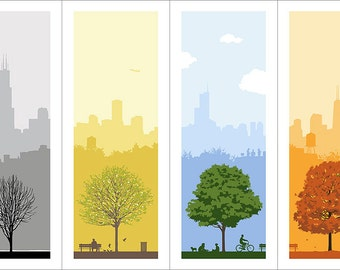 4 Seasons in Chicago Print Set