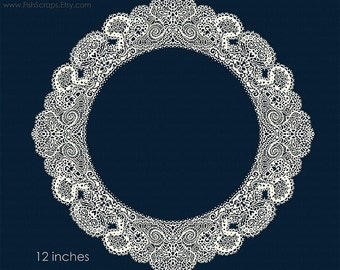 Lace Doily Frame Clip Art - Decorative Lace Border Circle, Digital Frame ClipArt, Create Elegant Wedding invitations, Instant