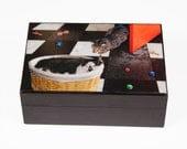 Sleeping Cat Keepsake / Memory Box, Pet Memorial, Treasure Box, Cat Gifts, Handmade Art, Gray Tabby Cat, Deborah Julian