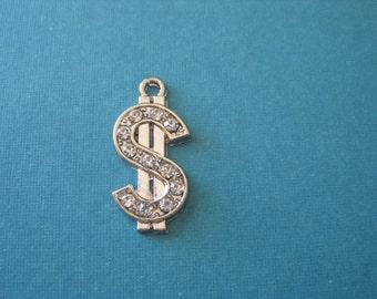 last Pair of rodium plated rhinestone dollar sign charms