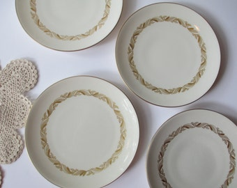 Vintage Castleton China Carlton Gold Cream Dessert Plates Set of Four