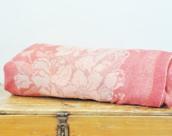 Vintage Floral Rose Pink Reversible Cutter Blanket Crafts