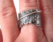 Steampunk Feather Ring- Adjustable Ring- Sterling Silver Ox Finish