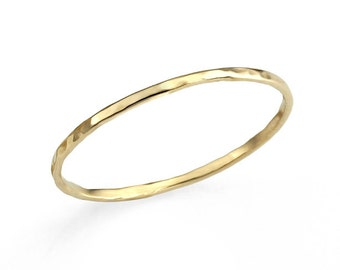 Delicate Thin Hammered 14K Solid Gold Wedding Band, Unique Wedding Band, Gold Stacking Rings