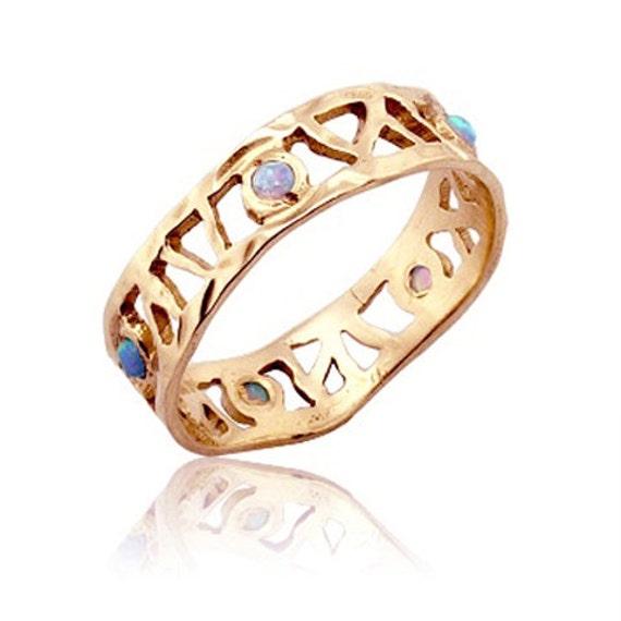 Opal Ring 18k Gold Roman Openwork Opal Wedding Band Opal