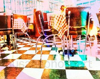 Checkered Diner, digital photo art, restaurant art, cafe, chairs and table,  wall art,  home decor, Minnesota art, Minneapolis, kitchen art