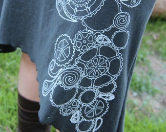 "Screen Print Gypsy Mama Skirt ""Gears and Paisleys""-Hemp and Organic Cotton stretch by Hempress Arise"