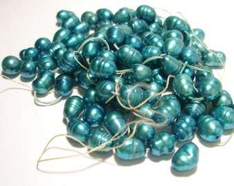 Fresh Water Pearl Beads - Oval 8mm x 6mm - 50 Beads - Beautiful Carribean Turquoise Color Enhanced
