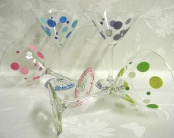 Martini glasses, hand painted glasses, Martini glasses with polka dots,painted martini glasses, retro martini glasses