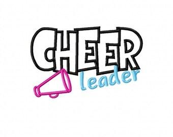 Cheerleader Mega Phone Embroidery Machine Applique Design 10681